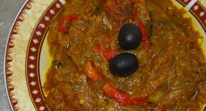 recette marocaine zaalouk ou purée d'aubergines